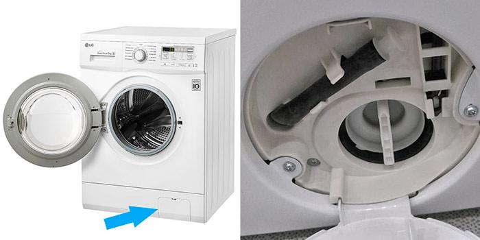 Где находится фильтр в стиральной машине и как его почистить?