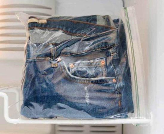 Замораживание джинс в морозилке чтобы вывести пятна от смолы